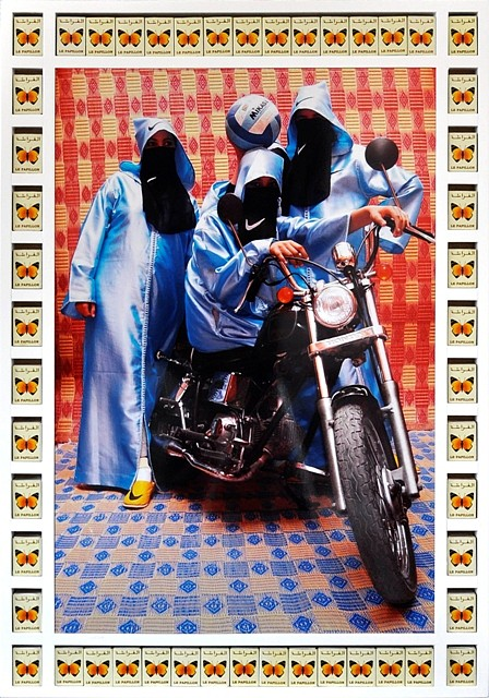 "<p><span class=""viewer-caption-artist"">Hassan Hajjaj</span></p> <p><span class=""viewer-caption-title""><i>Nikee Rider</i></span>, <span class=""viewer-caption-year"">2007</span></p> <p><span class=""viewer-caption-media"">Mixed Media</span></p> <p><span class=""viewer-caption-dimensions"">89.7 x 62 cm (35 3/8 x 24 3/8 in.)</span></p> <p><span class=""viewer-caption-description"">Edition Size: 10