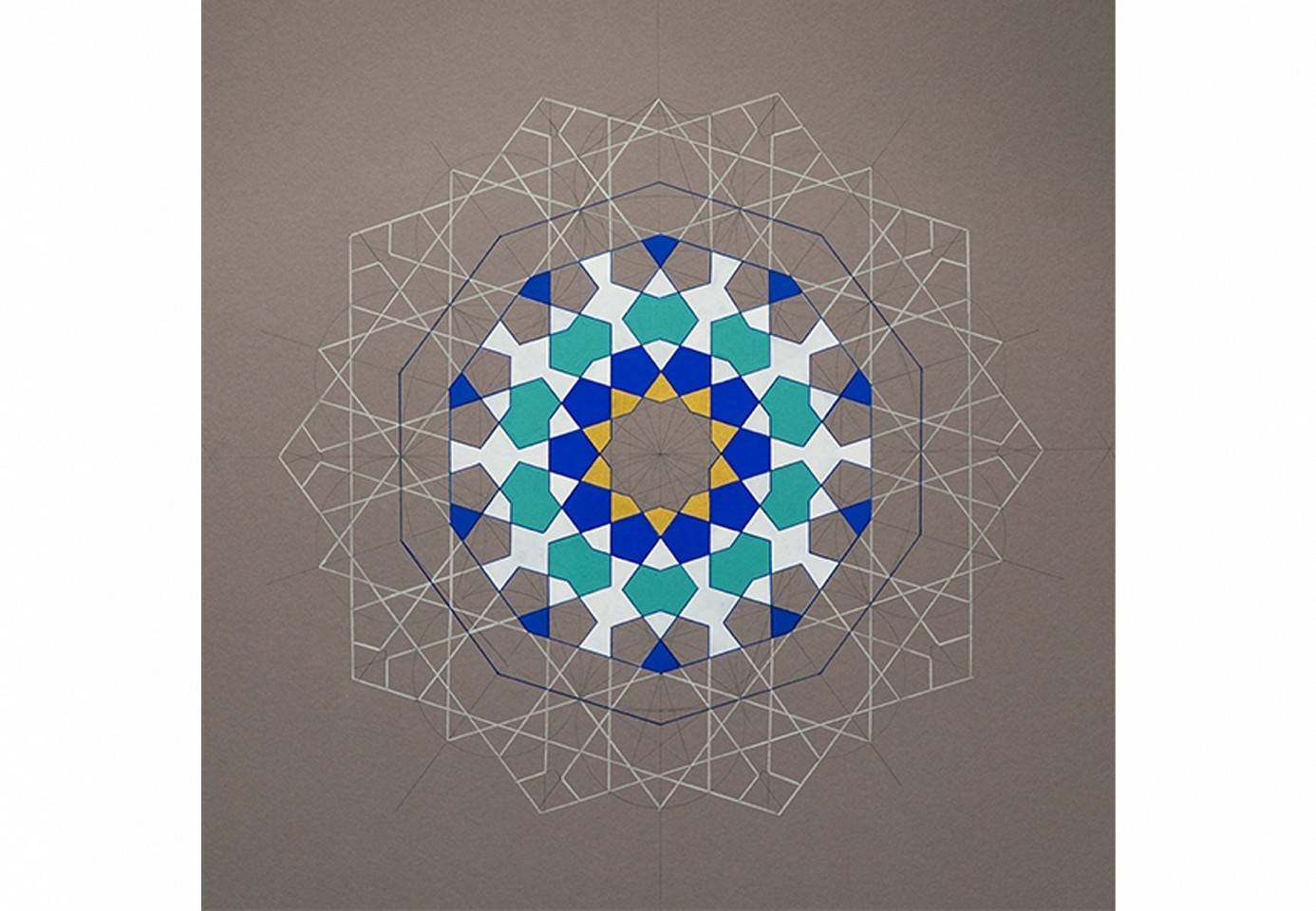 "<p><span class=""viewer-caption-artist"">Dana Awartani</span></p> <p><span class=""viewer-caption-title""><i>Dodecahedron (Heaven)</i></span>, <span class=""viewer-caption-year"">2014</span></p> <p><span class=""viewer-caption-media"">Pencil & national pigments on mount board</span></p> <p><span class=""viewer-caption-dimensions"">81 x 81 cm (31 7/8 x 31 7/8 in.)</span></p> <p><span class=""viewer-caption-description"">From the Platonic Solids series</span></p> <p><span class=""viewer-caption-inventory"">DAN0039</span></p> <p><span class=""viewer-caption-aux""></span></p>"