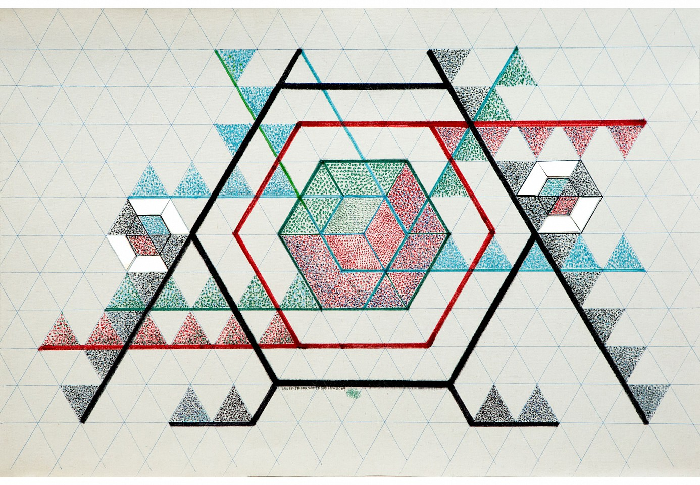 "<p><span class=""viewer-caption-artist"">Monir Farmanfarmaian</span></p> <p><span class=""viewer-caption-title""><i>Drawing 2</i></span>, <span class=""viewer-caption-year"">2009</span></p> <p><span class=""viewer-caption-media"">Felt marker, color pencil and mirror on paper</span></p> <p><span class=""viewer-caption-dimensions"">62 x 95 cm (24 3/8 x 37 3/8 in.)</span></p> <p><span class=""viewer-caption-inventory"">MOF0001</span></p> <p><span class=""viewer-caption-aux""></span></p>"