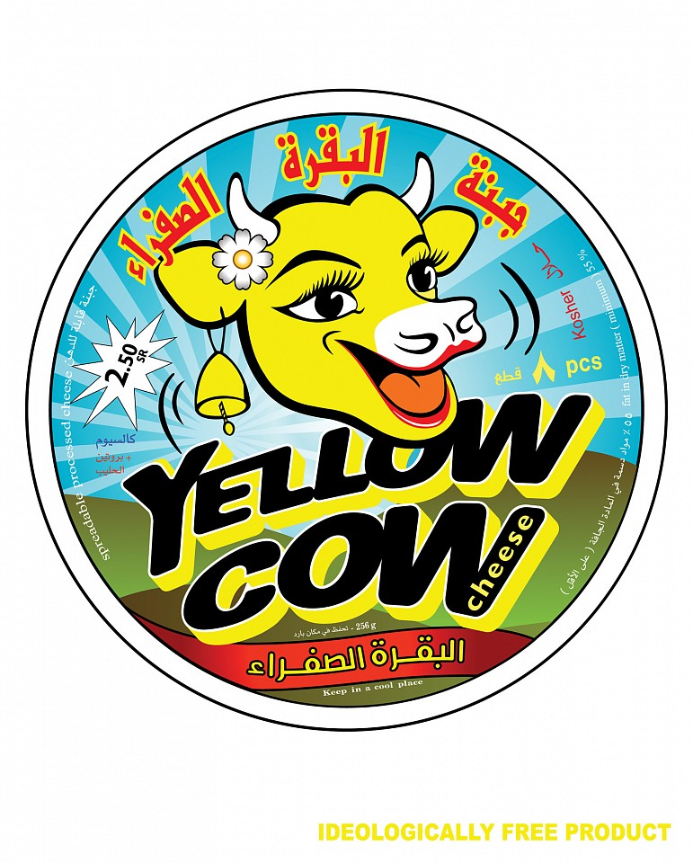 "<p><span class=""viewer-caption-artist"">Ahmed Mater</span></p> <p><span class=""viewer-caption-title""><i>Yellow Cow Poster (white)</i></span>, <span class=""viewer-caption-year"">2010</span></p> <p><span class=""viewer-caption-media"">Mixed Media</span></p> <p><span class=""viewer-caption-inventory"">AHM0308</span></p> <p><span class=""viewer-caption-aux""></span></p>"